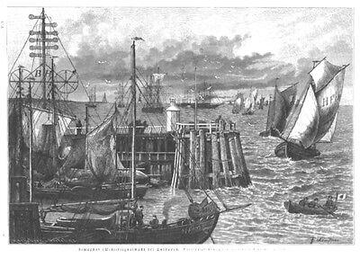 Cuxhaven, Hafen, Semaphor, Original-Holzstich von 1887