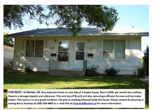 For Rent in Semans, Sk: One-bedroom (1/2duplex)