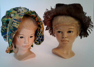 Vintage Pair of Ceramic Boy and Girl Bust Heads,w/Country Hats