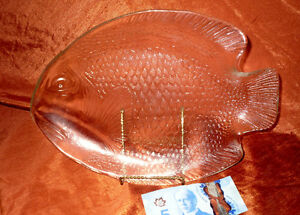 New in Box glass FISH PLATE