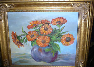 Vintage Still Life of Zinnias In A Blue Vase by M. Oliphant '47