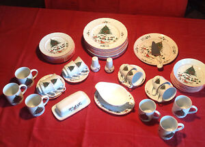 """Eight Place Settings of """"Christmas Pleasure"""" China with Extras"""