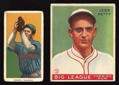 1909 1910 T206 TOM DOWNEY 1933 GOUDEY #90 JESS PETTY~TWO CENTERED BASEBALL (Downey Center)