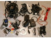 Job lot of Assorted Cables Inc. Scart, TV, audio, mains cables, telephone.