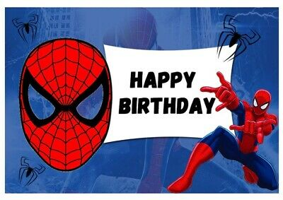 SPIDERMAN SPIDER WEB DARK BLUE PERSONALISED BIRTHDAY PARTY BANNER BACKDROP