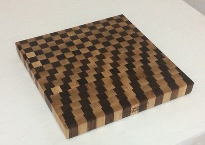 3D End Grain Cutting Board, Handmade with Walnut and Maple Wood