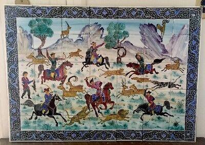 - MAGNIFICENT HAND PAINTED PERSIAN TILE MOSAIC PANEL / PERSIAN MINIATURE ART