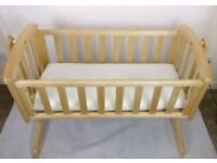 Troll rocking crib natural colour with mattress. 4 month use.