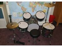 Junior 5 Piece Drum Kit Gear4music Laser Silver