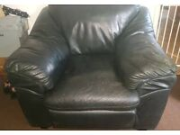 Leather style sofa black arm chair x2