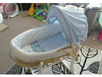 Mothercare space moses basket and stand