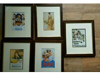 Five Framed Pictures featuring Old Fashioned Adverts