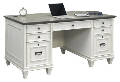 Hartford White Grey Two Tone Double Pedestal Executive Desk - Fully Assmebled