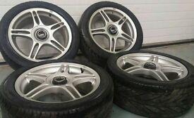 "Rare TSW 5x114.3 17"" alloy wheels + matching Avon tyres nissan honda toyota jap"