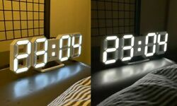 3D LED Wall Clock Modern Design Digital Table Clock Alarm Nightlight Saat reloj