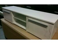 A brand new white finish 1 door TV unit with glass shelve x led light.