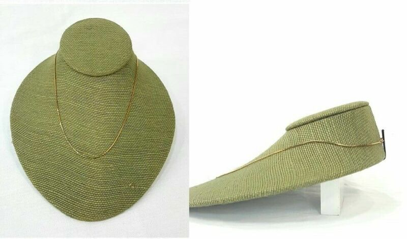 Jewelry Necklace Display Lay-Down Jewelry Neckform Display Bust - Burlap Green