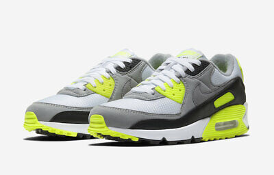 Size 10 Nike Air Max 90 OG Volt White Particle Grey Black Mens CD0881 103 Neon