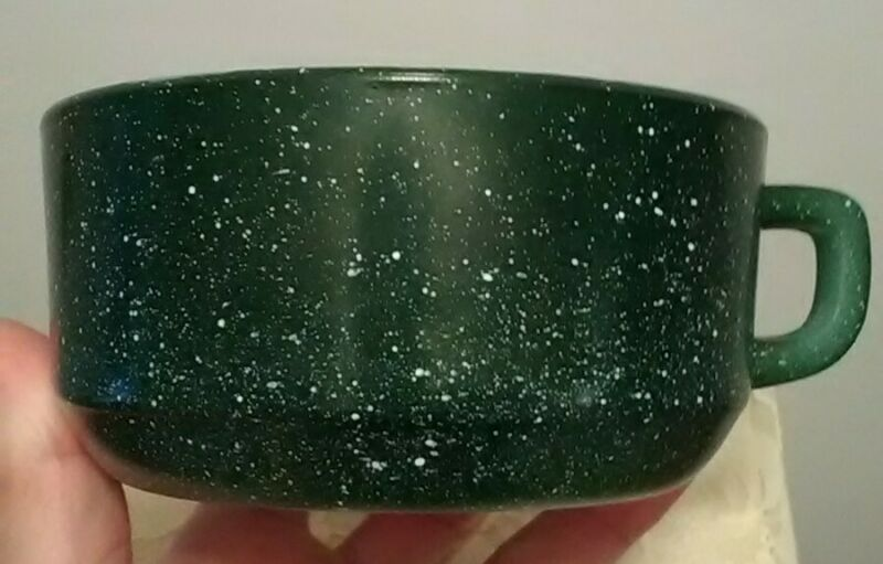 Vintage ANCHOR HOCKING FIRE KING SPECKLED Green rare MILK GLASS COFFEE MUG CUP