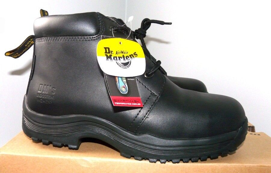 DR MARTENS WORK 0028 BLACK LEATHER INDUSTRIAL BOOTS WOMENS STEEL MIDSOLE /& TOE
