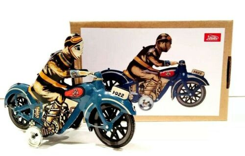 BRAND NEW PAYA REPRODUCTION CLASSIC 1922 BLUE MOTORCYCLE WIND UP TIN TOY MINT
