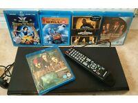 SAMSUNG BLU RAY PLAYER WITH 5 BLU RAY DVDS