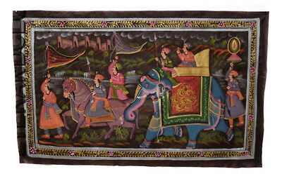 Hanging Wall Painting Mughal on Silk Art Scene of Life India 71x47cm 13