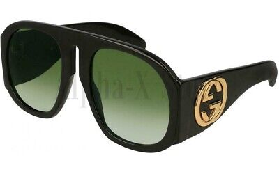 GUCCI GG0152S 002 BLACK Acetate Frame Green Gradient Lens Oversized Sunglasses💎