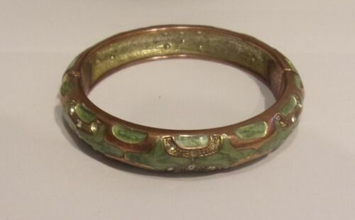 Vtg, Style Green Gullioche Enamel,Copper  Metal,Crystals Hinged Bangle Bracelet