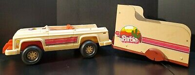1973 Barbie Western Jeep And Horse Trailer TLC