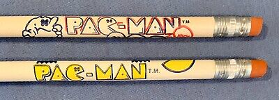 2 VINTAGE EARLY 1980S PAC-MAN PENCILS BALLY / MIDWAY