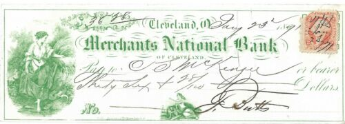 Antique Bank Check Merchants National Bank Cleveland, 2/3/1871 Green