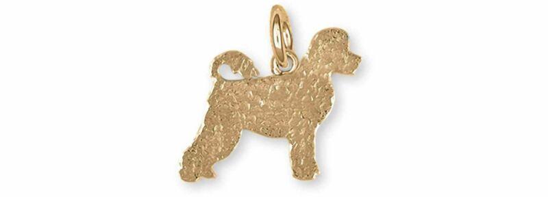 Portuguese Water Dog Jewelry 14k Gold Handmade Portuguese Water Dog Charm  PWD1-