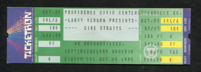 Original Dire Straits 1985 Unused Concert Ticket Providence Brothers In Arms