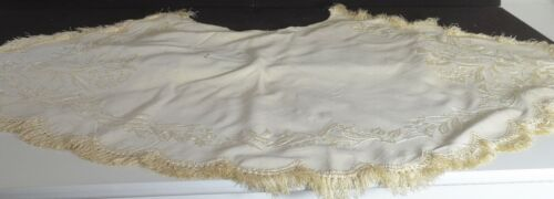 Antique Hand EMBROIDERED Wool CAPE SHAWL COLLAR Fragment UU869