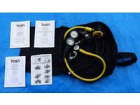 Scuba Diving Regulator + Gauges + Octopus + Dry Suit hose + Regulator bag