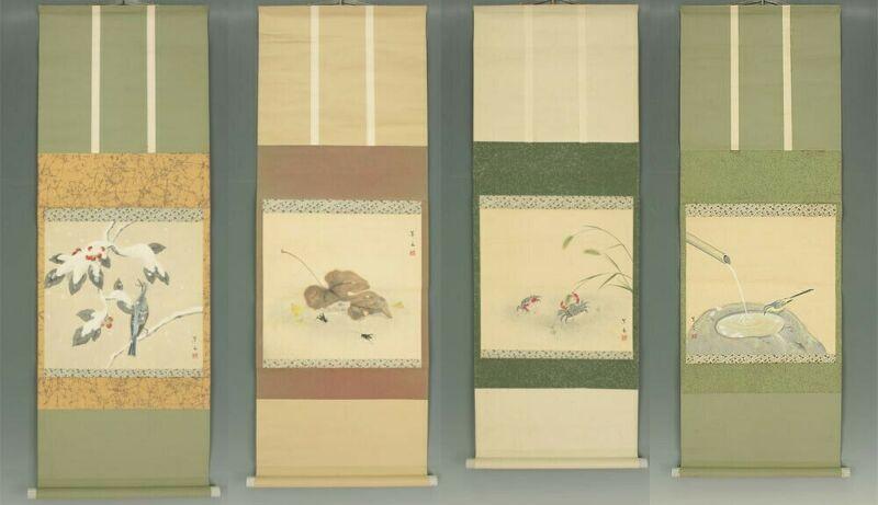 "Japanese Hanging Scrolls : Ohashi Motoura ""Four Seasons Creatures"" w/box"
