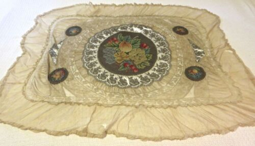 ANTIQUE 19th CENTURY TAPESTRY ON METALLIC LACE & NET TABLE CLOTH PETIT POINT
