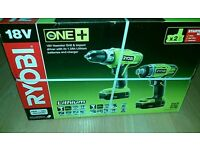 Ryobi One+ 18v Hammer Drill & Impact Driver Twin Pack 2 Batteries& Carry Case