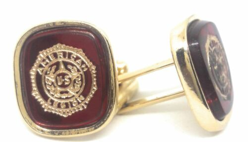 AMERICAN LEGION EMBLEM CUFFLINKS 18KT GOLD PLATED