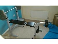York weights bench, cast iron weights and squat rack
