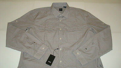 Hugo Boss Black Omar Plaid 100% Cotton Shirt Slim Fit Mens Xxl Brown / White