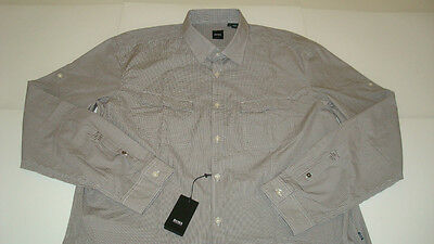 Hugo Boss Black Omar Plaid 100% Cotton Shirt Slim Fit Mens Xxl Brown / White