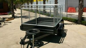 8 x 5 Heavy Duty Trailer with 3ft Delux Cage White Hills Bendigo City Preview