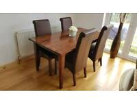 Next Dark Mango solid wood dining table and 4 leather chairs