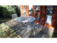 Marble top Garden Table and four outdoor Chairs