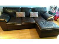 Dfs real leather corner/chaise sofa in tan and dark brown - seat on one side slightly deflated