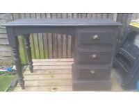 Solid Wood Charcoal 3 Drawer Desk