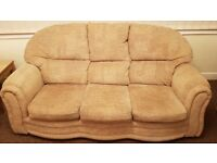 Beige fabric 3 seater Sofa and 2 armchairs
