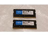 2 x Crucial 16GB (32GB) DDR4-2400 SODIMM 1.2V CL17 Laptop Memory